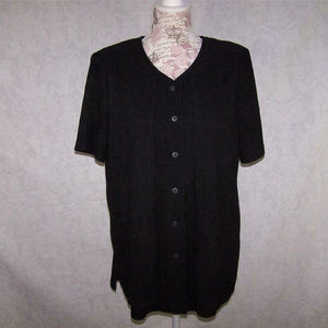 Worthington Shirt Top Two-Fer Crinkled Button Up